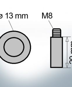 Bolt-Anodes M8 Ø13/L20 (Zinc)