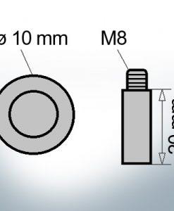 Bolt-Anodes M8 Ø10/L20 (Zinc)