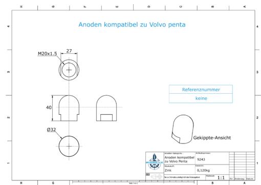 Anodes compatible to Volvo Penta | Cap-Anode M20x1,5 short (Zinc) | 9243