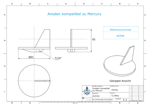 Anodes compatible to Mercury | Trim-Tab-Anode QSS 46399 (AlZn5In) | 9707AL