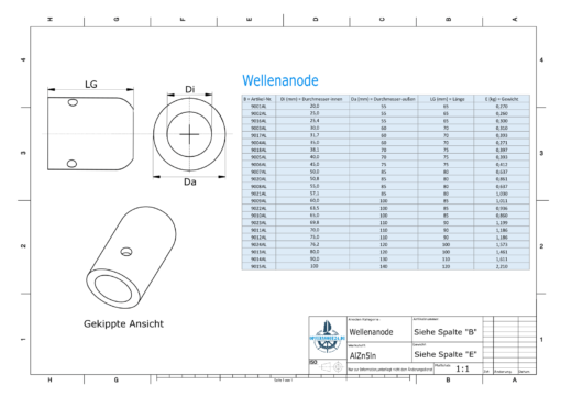 Shaft-Anode with metric inner diameter 65 mm (AlZn5In) | 9010AL