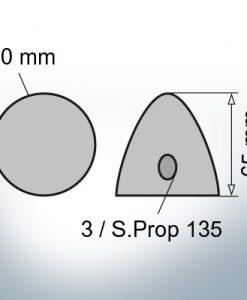 Three-Hole-Caps   Prowell Sailprop 135 Ø80/H65 (Zinc)   9408