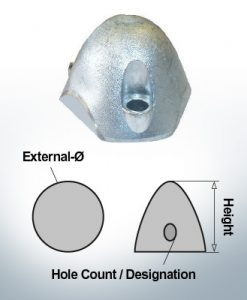 Three-Hole-Caps   suitable for Foldprop Engl. Ø55/H45 (Zinc)   9457
