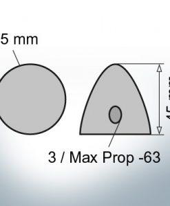 Three-Hole-Caps   Max Prop -63 Ø65/H45 (Zinc)   9600