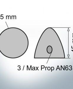 Three-Hole-Caps   Max Prop AN63 Ø65/H45 (Zinc)   9606