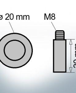 Bolt-Anodes M8 Ø20/L30 (AlZn5In)   9113AL