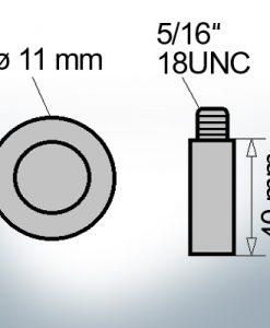 Bolt-Anodes 5/16'' 18UNC Ø11/L40 (AlZn5In)   9129AL