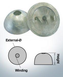 One-Hole-Caps   suitable for VP-64 Ø55/H22 (Zinc)   9451