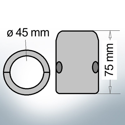 Shaft-Anode with metric inner diameter 45 mm // 1 3/4'' (Zinc) | 9006