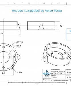 Anodes compatible to Volvo Penta | Ring-Anode Saildrive 110 875812 (AlZn5In) | 9202AL