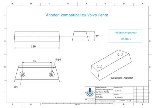 Anodes compatible to Volvo Penta | Block-Anode 290 / Duo-Prop 852835 (AlZn5In) | 9204AL