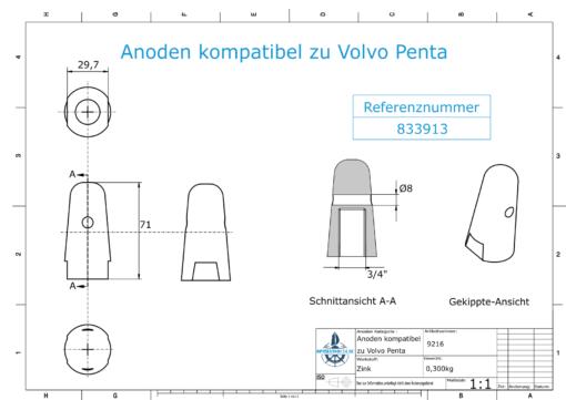 "Anodes compatible to Volvo Penta   Cap-Anode 3/4"" 833913 (Zinc)   9216"