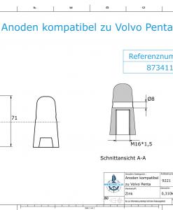 Anodes compatible to Volvo Penta   Cap-Anode M16x1,5 873411 (Zinc)   9221