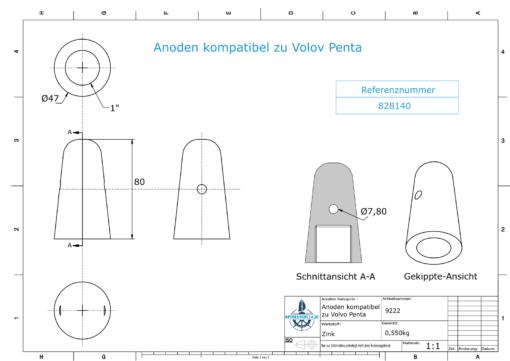 "Anodes compatible to Volvo Penta | Cap-Anode 1"" 828140 (Zinc) | 9222"