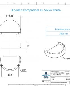 Anodi compatibili con Volvo Penta | Anodes de bloc Zn + Mg 3855411 (Zinco) | 9236