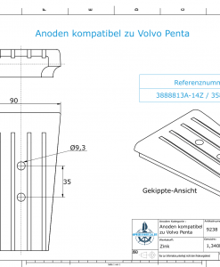 Anodes compatible to Volvo Penta | Engine-Anode | 3588746 | 3888813A+14Z (Zinc) | 9238