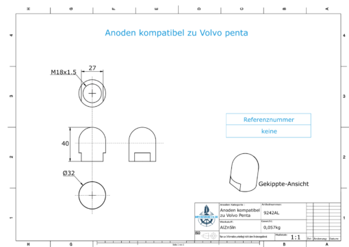 Anodes compatible to Volvo Penta | Cap-Anode M18x1,5 short (AlZn5In) | 9242AL