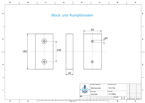 Block- and Ribbon-Anodes Block L180/140 (AlZn5In) | 9317AL