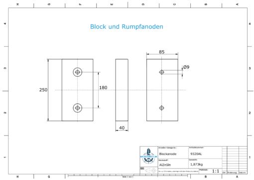 Block- and Ribbon-Anodes Block L250/180 (AlZn5In)   9320AL
