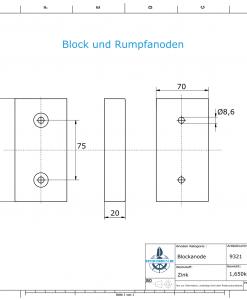 Block- and Ribbon-Anodes Block L150/75 (Zinc)   9321