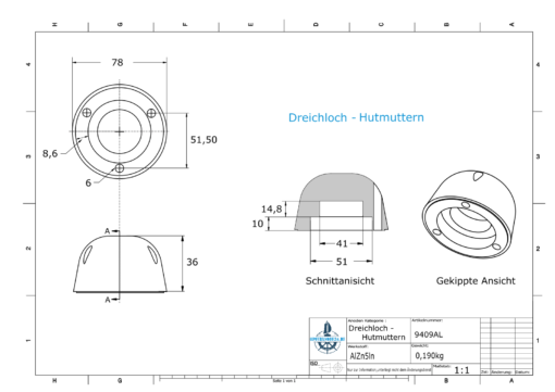Three-Hole-Caps | suitable for DF-107 Ø78/H36 (AlZn5In) | 9409AL