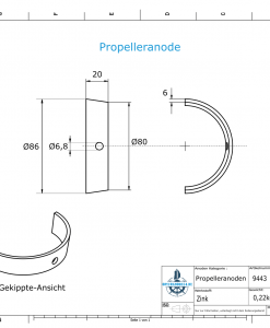 Propeller Anode suitable for Varifold VF 70 (Zinc) | 9443