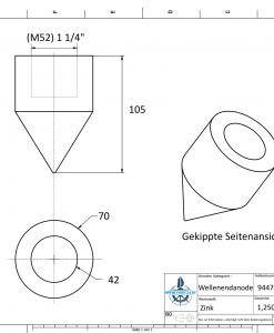 Conical Shaftend-Anode 1 1/4'' Rohr (Zinc)   9447