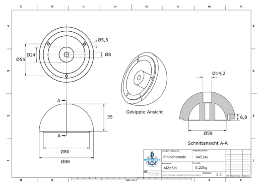 One-Hole-Caps | suitable for VP-104 Ø88/H35 (AlZn5In) | 9453AL