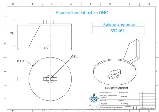 Anodes compatible to Mercury | Trim-Tab-Anode Ev/Jo 316981-1 (AlZn5In) | 9530AL