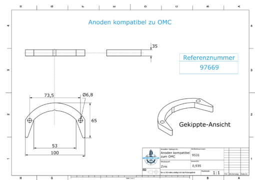 Anodes compatible to Mercury | Anode-Kit Ev/Jo 392462 (Zinc) | 9531