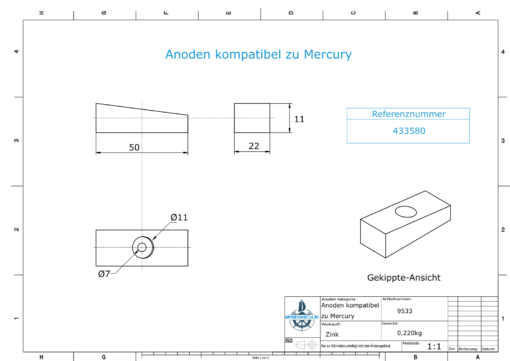Anodes compatible to OMC  Shaft-Anode Ev/Jo 433580 (Zinc)   9533