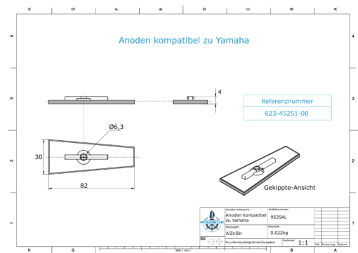 Anodes compatible to Yamaha and Yanmar | Anode 9,5 15 PS 623-45251-00 (AlZn5In) | 9535AL