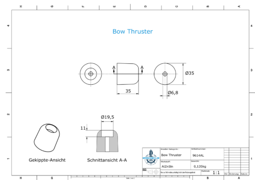 Bow-Thruster-Anodes 35 x 35 (AlZn5In) | 9614AL