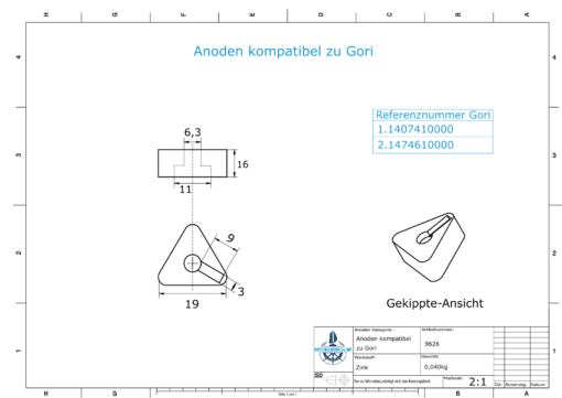 """Anodes compatible to Gori   Bow-Thruster-Anode 22""""-26""""   1407410000   1474610000   (Zinc)   9626"""