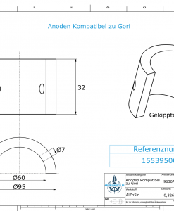 Anodes compatible to Gori | 3-blade Saildrive, Ref.: 1553950000 18