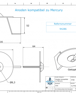Anodes compatible to Mercury   Trim-Tab-Anode 18/25 94286 (Zinc)   9708