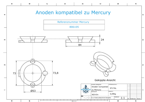 Anodes compatible to Mercury   Ring-Anode 806105 (AlZn5In)   9717AL