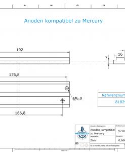 Anodes compatible to Mercury | Mariner-Anode 818298 Q1 (Zinc) | 9718