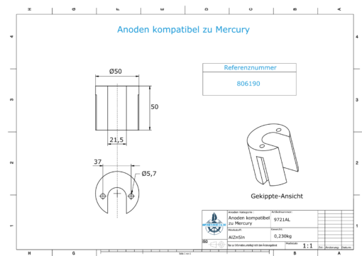 Anodes compatible to Mercury | Cylinder-Anode large 806190 (AlZn5In) | 9721AL