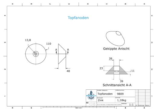Cylinder-Anodes 110x40 Ø110 mm (Zinc) | 9809