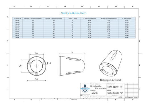 Three-Hole-Caps | Max Prop -63 Ø65/H45 (AlZn5In) | 9600AL