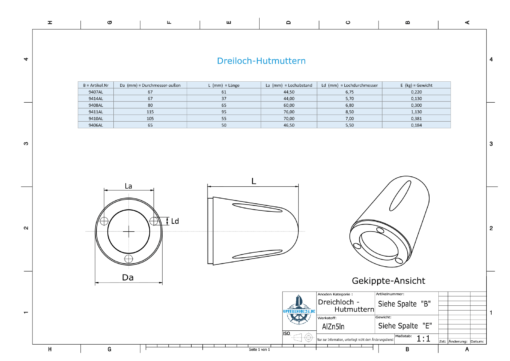 Three-Hole-Caps | Prowell Sailprop 135 Ø80/H65 (AlZn5In) | 9408AL