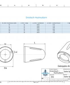 Three-Hole-Caps | Prowell Sailprop 100 Ø60/H65 (Zinc) | 9407