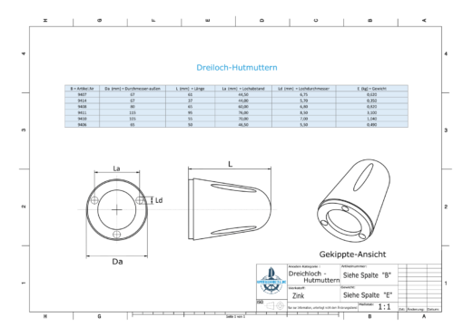 Three-Hole-Caps   suitable for DF-80 Ø67/H37 (Zinc)   9414