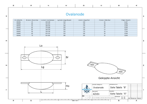 Block- and Ribbon-Anodes Oval L120/150 (AlZn5In) | 9304AL