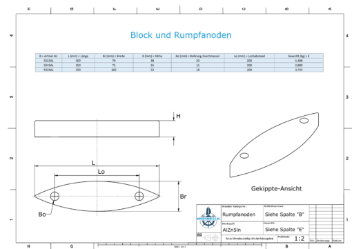 Block- and Ribbon-Anodes Block L290/200 (AlZn5In)   9324AL