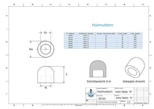 Nut-Caps M27x1,5 Ø35/H40 (AlZn5In) | 9401AL