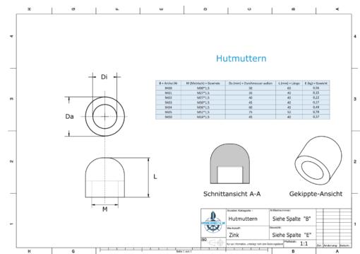 Hutmuttern M27x1,5 Ø40/H40 (Zink) | 9402
