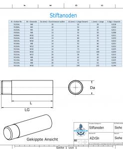 Bolt-Anodes M10 Stift Ø15/L100 (AlZn5In) | 9154AL