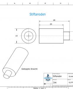 Bolt-Anodes 5 mm Stift Ø10/L20 (Zinc)   9144